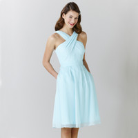 Mint Green Short Bridesmaid Dresses 2016 Cris Cross Halter Bow Belt Knee-Length A Line Blue Plus Размер Дешевые платья для подружек невесты B1111