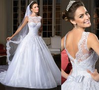 Wholesale Trendy Corset Dresses - 2016 Trendy Ball Gown Wedding Dresses Lace Bridal Gown With Sheer Neckline Backless Sequins Corset Wedding Gowns Center Novias