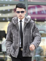 Wholesale Marten Collars - 2017 mink marten men's leather overcoat turn-down collar homens jaqueta de couro leather hooded jacket outerwear mens fur coat