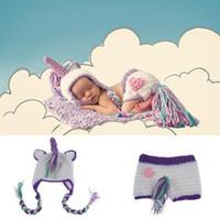 crochet bebé establece accesorios de fotografía al por mayor-Accesorios de fotografía de bebé recién nacido unicornio niños niños niñas crochet sombreros + pantalones cortos 2pcs establece trajes de fotografía KKA3573