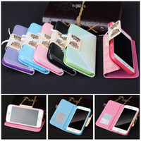 Wholesale Chain Bag Iphone Case - Luxury Bow Tie Lace Stand Wallet Flip Leather Case Cover For Samsung Galaxy S4 S5 Case Card Slot For iPhone 6 6S plus 5 4 5S 4+Bag Chain