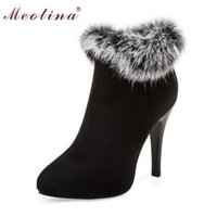 Wholesale Ladies High Heels Size 11 - Wholesale- Meotina Sexy Women Boots High Heels Ankle Boots Shoes Women Pointed Toe Ladies Boots Snow Fur Zip White Red Big Size 10 11 44 45