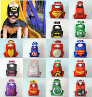 Wholesale Halloween Capes - Double 70*70cm side kids Superhero Capes and masks Children Cartoon Cute Capes Cosplay Party Costumes Halloween