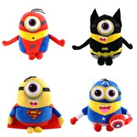 """Wholesale Despicable Stuffed Minions - 9"""" Marvel's The Avengers Hero Figures Plush Stuffed Toys Minions Despicable Me Spiderman 3D Eye Dolls Gift"""