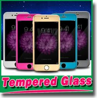 Wholesale Titanium Iphone Back - For iphone 6 plus Titanium alloy Explosion-proof Glass protection film color Tempered glass Front and Back Radian protector for iphone 6