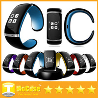 Wholesale Sms Yellow - L12S L12 OLED Touch Screen Bluetooth 3.0 Bracelet Wrist Watch Smart Watch Wristbands for iPhone Samsung Android Phone Call Answer SMS
