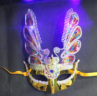 Wholesale Eyeliner Decorations - New LED Halloween props fine plating phoenix with lamp with eyeliner luminous mask Fashion mask masquerade party decorations