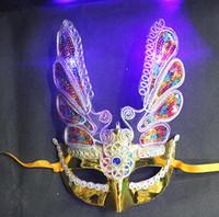 feine lampen großhandel-Neue LED Halloween Requisiten feine Beschichtung Phoenix mit Lampe mit Eyeliner leuchtende Maske Fashion Maske Maskerade Party Dekorationen