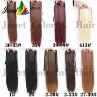 colores del pelo humano de malasia al por mayor-Venta CALIENTE 50 cm 100 g / pc Fashion Ponytail Hairpieces Recto Sintético Ponytail Hair Extension 9 colores clip de la cinta Envío gratis