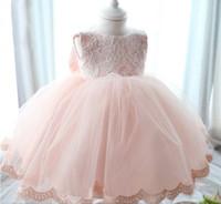 Wholesale Dress Girl Yarn Bowknot - Newborn Baby Girls Tutu Dress Lace Net Yarn Pink Princess Dresses For Baby Big Bowknot Infant Party Clothes 3M-6M-12M 0-1Age K366 XQZ