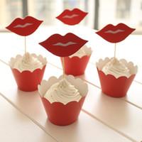 ingrosso compleanno cupcake wrapper-24 PZ / SET Evento Forniture per feste Decorazione di Cerimonia Cupcake Wrapper Rosso labbra Kid Birthday Party Cup Cake Toppers Picks JIA020