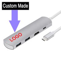 Wholesale 5PCS Custom Made Aluminium Type C USB C usb c type lan hub to and USB HDMI type c in support of charging and data transmission