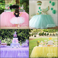 Wholesale Skirt For Table - Wedding Tulle Tutu Table Skirt Custom Made Colors Birthdays Dessert Station Skirt Baby Showers Parties Table Decoration For Wedding 100*80CM