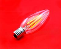 Wholesale E17 Base Led Bulbs - LED Candle Lamp C35 C35T COB filament bulb chandelier 2700K 2W 4W E17 base 110V 220V AC 110 LM W CE FCC Approval