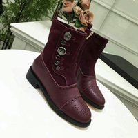 Wholesale Quilted Boots - 2017 new Arrivals fall Womens black white twotone Quilted real Leather pearl Jewelry Embellished short biker Motorcycle Boots