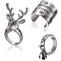 Wholesale Reindeer Bells - Find Me 2017 new Gypsy Vintage Boho Reindeer bells Rings Unique Carved Antique 3pcs set shell tortoise Rings For Women Jewelry free shipping