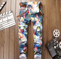 Wholesale Mens Colour Prints - New luxury brand fashion stretch mens jeans Coloured printing jeans men casual slim fit trousers denim Painted jeans pants #5005