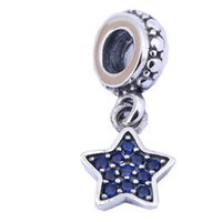 Wholesale Wholesale Sterling Silver Religious Bracelets - 925 Sterling Silver Lovely Blue Stone Star Pandora Charms Used On Bracelet and Other Jewelry For Unisex PJ0059-1A