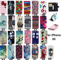 Wholesale Tribal Iphone Casing Wholesale - Flower Wallet Leather case For iphone 6s Tribal Owl Wave butterfly Cover with stand holder 2015 new