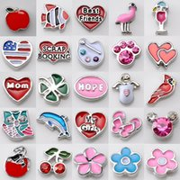 Wholesale Alloy Red Heart Enamel Bead - Top Sale DIY ALloy Crystal Beads Floating Charm Locket DIY enamel crystal beads Mix Style 100pcs Sale