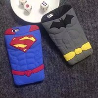 Pour Iphone 6 6S Plus 5 5S 3D Stereo Superman Batman Thor Hero Silicone caoutchouc gel étui souple Cartoon Belle 5pcs de couverture de la peau antichoc Mignon