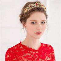 Wholesale tiaras coral - Western Golden Dancing Queen Crown High Quality Red Crystals Rhinestones Sale Pearls Tiara Noiva Wedding Hair Accessories