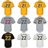 Mens 21 Roberto Clemente 22 Andrew McCutchen Independence Day Coolbase Grigio Giallo Bianco Nero Coolbase