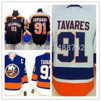 ingrosso team di illuminazione-30 Teams-Wholesale Spedizione gratuita 91 John Tavares Bianco Nero e Azzurro Hockey Jersey Ordine misto