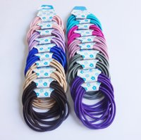 Wholesale Colorful Hair Elastic - 4MM Hair Elastic Ties Beadless Colorful hair bands CRAFT hair bands no Metal up to 10 Colors