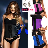 Wholesale Black Corset Steel Boning - New Latex Waist Training Corset Sport Girdle Steel Boned Bustiers With 3 Hook Buckles Underbust waist cincher Size S--3XL AAA+ 699