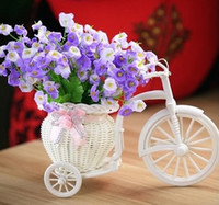 Wholesale Flower Basket Designs - Vases White Tricycle Bike Design Flower Basket Storage Container Party Weddding Decoration Home Decor knit Bike Photo props background