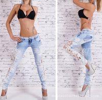 Wholesale Lace Slimming Pants For Women - Wholesale-2015 Women Crochet Lace Light Blue Skinny Jeans Women's Denim Party Pants With Chain boyfriend jeans for women