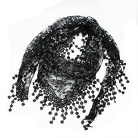 Wholesale Triangle Shaped Scarves - Wholesale-Fashion Women Triangle Shape Lace Sheer Floral Shawl Scarf Black Lightweight