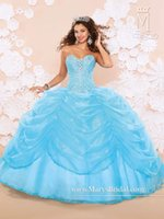 Wholesale Sequin Drape Dress - Fashion Blue Ball Gown Quinceanera Dresses 2015 With Crystals Beads Sequins Draped Organza Ragazza Sweet 16 Prom Gowns With Jackets