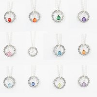 Wholesale Glass Pendants Birthstone - 24pcs lot New Design Fine Jewelry 12 color Birthstone Personal Engraved Necklace for Women Wholesale WP-033FD-104