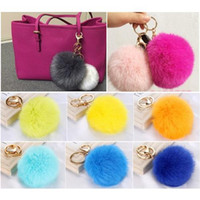 Wholesale Phone Dangles - 2PCS Rabbit Fur Ball PomPom Cell Phone Car Keychain Pendant bag Dangle Charm Key Ring
