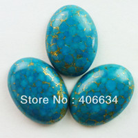 Wholesale Turquoise Cabs Wholesale - Wholesale-(Min.order 10$ mix) Free shipping (3pcs)Turquoise pyrite Oval CAB CABOCHON
