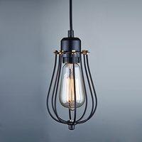 cortinas de la luz del techo de la vendimia al por mayor-Envío gratis Vintage Light Bulb Retro Industrial Edison 1 Light Metal sombra techo lámpara colgante accesorio negro con bulbo