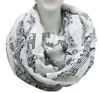 Wholesale White Cotton Sheeting Wholesale - Free Shipping 2015 New Fashion White Burgundy Navy Music Note Sheet Music Piano Notes Script Print Scarves Infinity Scarf