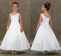 Wholesale Menina Flor - One shoulder White Satin Flower Girls Dresses Long With Embroidery A-line Wedding Girls Party Dresses 2015 Vestido Menina Flor