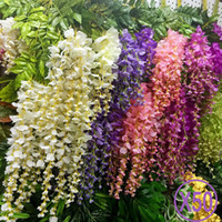 Wholesale wholesale silk wisteria garland - 50pcs Wisteria Wedding Decor 110cm 75cm 6 colors Artificial Decorative Flowers Garlands for Party Wedding Home For Free Shipping
