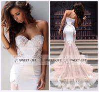 Wholesale Cheap One Piece Dresses - 2015 Gorgeous Mermaid Prom Dresses Cheap Baby Pink Backless Sweetheart Applique Lace Evening Gowns Sheer Celebrity Pageant Party Queen Dress