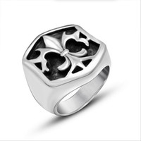 Wholesale Stainless Ring Fleur Lis - Hot Fashion Unique Cross Fleur De Lis Men Ring 316L Stainless Steel Ring Top Quality Rock Punk Jewelry Free Shipping R488
