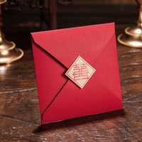 Wholesale Double Happiness Card - Wedding Invitations Red Double Happiness Wedding Invitation Card Chinese Vintage style Wedding Card Free Customized Printing Text CW031