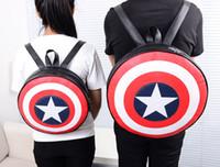amerikanische schultaschen großhandel-Rucksäcke Schultaschen Mode American Bag Captain America Shield Rucksack adrette Studenten Rucksack Kreis Runde Tasche Paar Rucksack