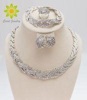 kristal yaprakları toptan satış-Ücretsiz Kargo 2015 Yapraklar Şekil Gümüş Kaplama Temizle Kristal Takı Seti Yeni Moda Düğün Gelin Afrika Kostüm Takı Setleri