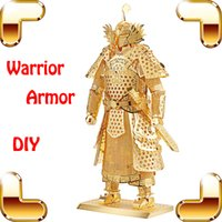 Wholesale House Design Build - New Year Gift Warrior Armor 3D Metal Model General Battle Design House Collection Decoration DIY Luxury Alloy Built Toys