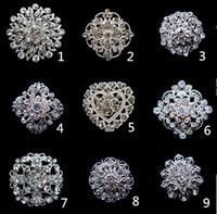 elmas taklidi kek pimleri toptan satış-1.3 Inç Sparkly Gümüş Temizle Rhinestone Kristal Diamante Çiçek Pins Düğün Pastası Buketi Pin Broş