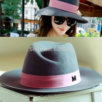 Wholesale New Bowler - Wholesale-Retail 2015 New Wool Fedora Women Winter Hats Maison Michel Trilby Wide Brim Fedora Bucket Hat Stylish Cloche Felt Caps Bowler