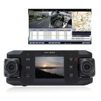Wholesale Dual Camera Vehicle Recorder Car - Dual Lens Car dvr Camera Two Lens Vehicle DVR Dash Recorder GPS G-sensor